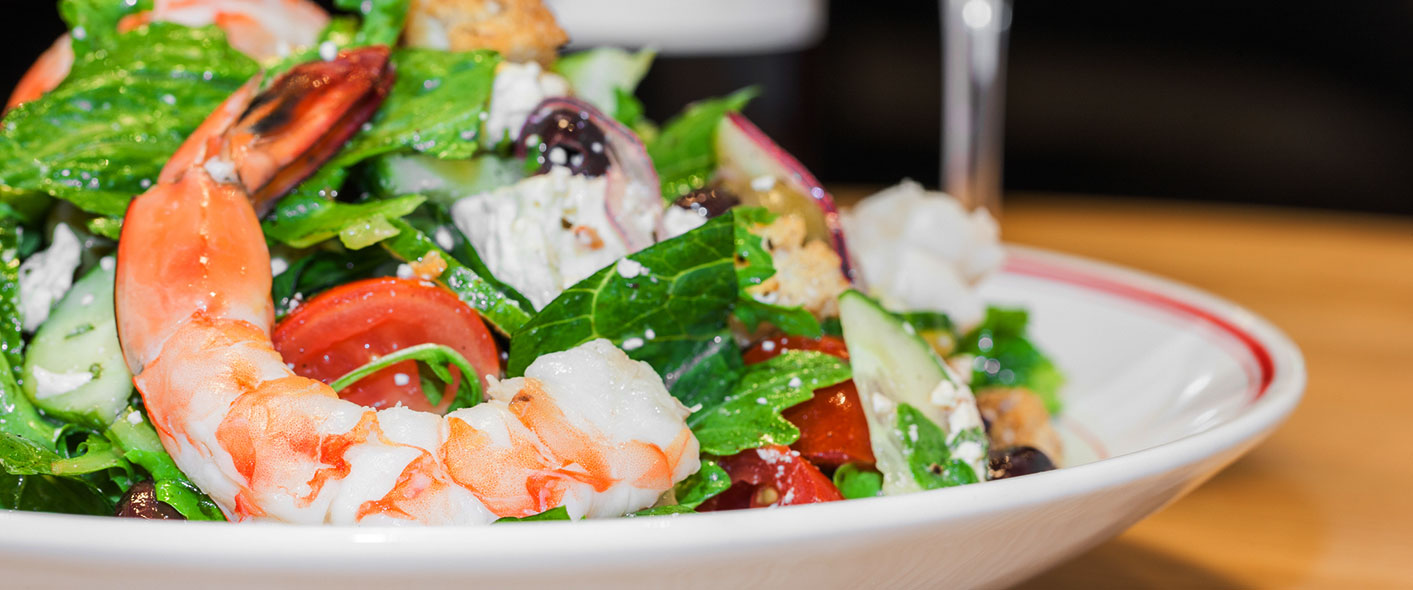 Greek Salad with Poached Shrimp